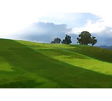 Rolling Green Fields at End of Day Photographic Print
