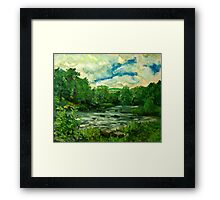Oil sketch -River Usk at Crickhowell, South Wales Framed Print