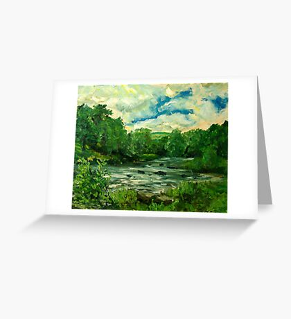 Oil sketch -River Usk at Crickhowell, South Wales Greeting Card