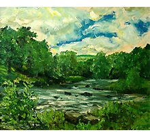 Oil sketch -River Usk at Crickhowell, South Wales Photographic Print
