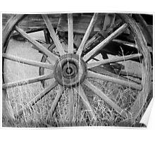 Black and White Wagon Wheel Poster