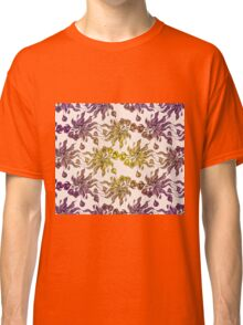 purple and yelow floral seamless pattern with hand drawn flowering crocus Classic T-Shirt