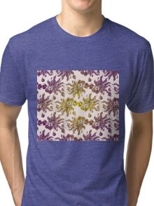 purple and yelow floral seamless pattern with hand drawn flowering crocus Tri-blend T-Shirt