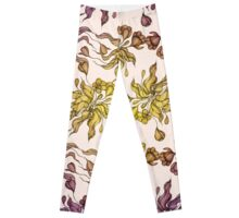 purple and yelow floral seamless pattern with hand drawn flowering crocus Leggings