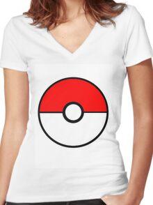 Simplistic Pokeball Women's Fitted V-Neck T-Shirt