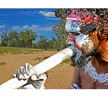 Play Your Didgeridoo Blue Photographic Print