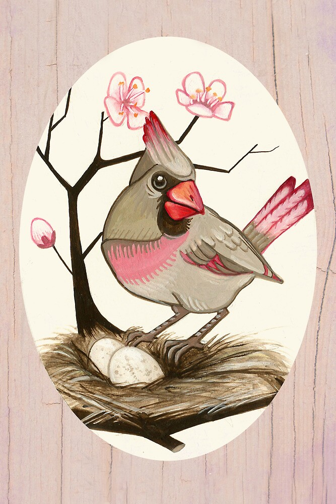 Female Cardinal and Cherry Blossoms by Monica McClain