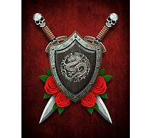 Shield with Chinese Dragon, Roses and Crossed Swords on Red Photographic Print