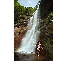 Young sexy beautiful girl stands at nature waterfall location 1 Photographic Print