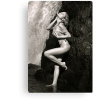 Young sexy beautiful girl stands at nature waterfall location 2 Canvas Print