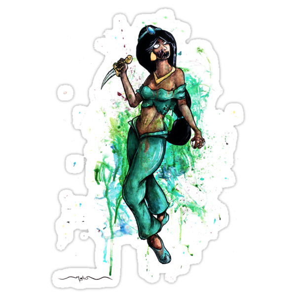 Zombie Princesses - Jasmine (with background) by MarcLothsArt