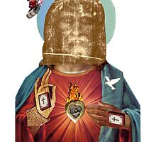 Dada Religious Figure (Benediction Dada Surrealist Collage) by Joseph Welte