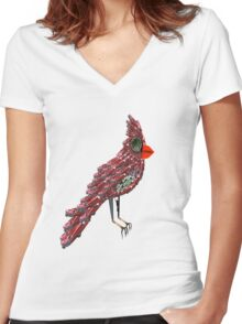 Steampunk Dada Cardinal (Red Cadillac Cardinal Bird Surrealist Collage) Women's Fitted V-Neck T-Shirt