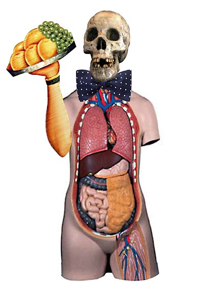 Dada Skull Waiter (Surrealist Collage) by Welte Arts & Trumpery