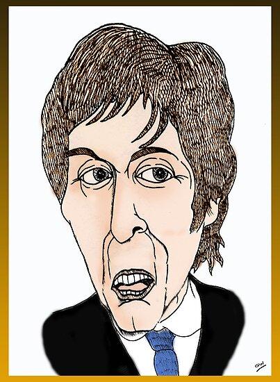 Paul McCartney Funny Cartoon Caricature by Grant Wilson