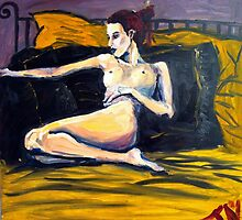 Girl on the gold bed by James Needham