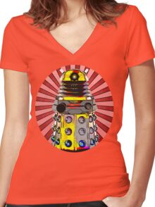 Cartoony Dalek Women's Fitted V-Neck T-Shirt