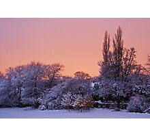 Snow Scene at Sunrise Photographic Print