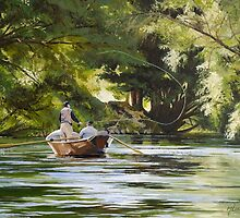 "Original oil painting: ""The Reel Life"" - Tumut, NSW, Australia by Martin Lomé"