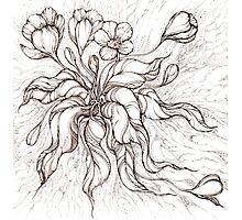 Bridal Bouquet.Hand drawn watercolor and brown ink drawing  Photographic Print