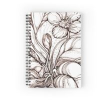 Bridal Bouquet.Hand drawn watercolor and brown ink drawing  Spiral Notebook