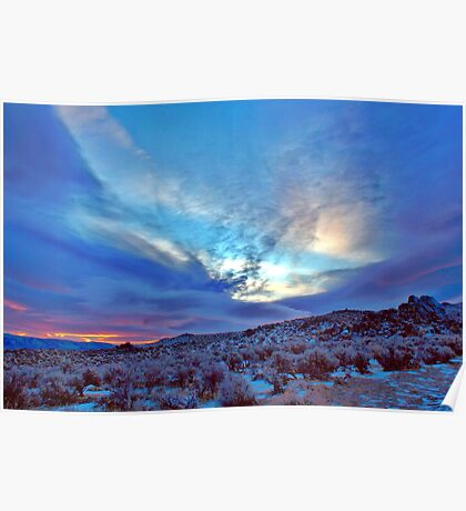 Desert Sunrise with snow Poster