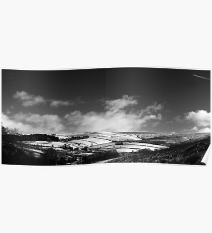 Snowy Patchwork, Bray Clough, Glossop (b&w) Poster