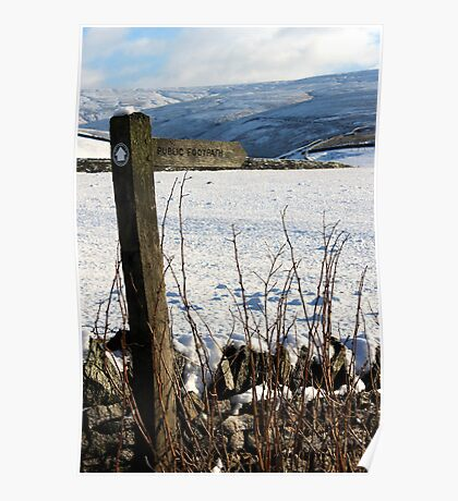 Footpath signpost against snow. Poster