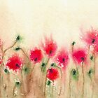 Field of Poppies - Floral Landscape Watercolour by Brazen Edwards-Hager