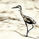 Graceful - Crane Wildlife Japanese Brush Painting by Brazen Edwards