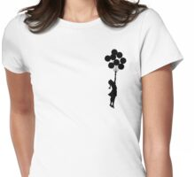 Girl floating away Womens Fitted T-Shirt