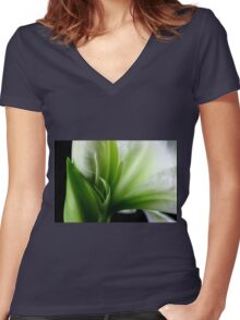 White & Green Women's Fitted V-Neck T-Shirt