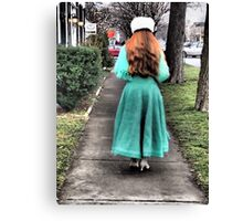 The Lady in Green Canvas Print
