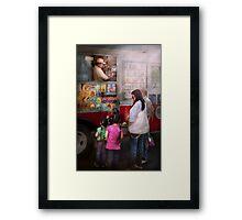 Americana - Ice Cream - Serving chocolate ice cream Framed Print