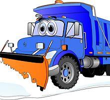 Blue Snow Plow Cartoon Dump Truck by Graphxpro