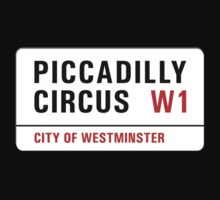 Piccadilly Circus, London Street Sign, UK One Piece - Long Sleeve