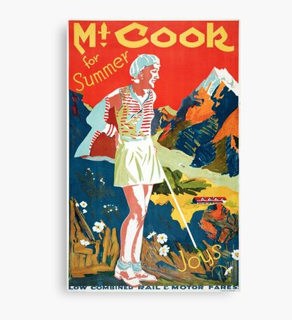 New Zealand Mt. Cook Vintage Travel Poster Canvas Print