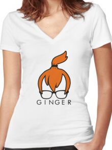 GINGER Women's Fitted V-Neck T-Shirt