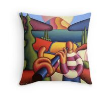 Soft gloss  musician with cottage in landscape Throw Pillow