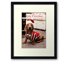 Merry Christmas Sausage Dog Framed Print