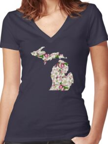 Michigan Flowers Women's Fitted V-Neck T-Shirt