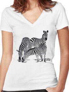 Zebra T-Shirt Women's Fitted V-Neck T-Shirt