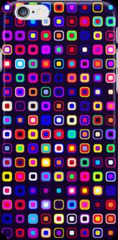 Retro Squares - Black [iPhone case] by Damienne Bingham
