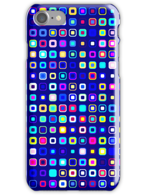 Retro Squares - Blue/Cyan [iPhone case] by Damienne Bingham