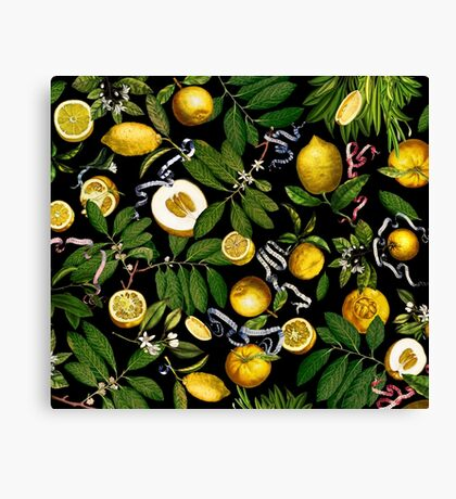 Lemon Tree - Black Canvas Print