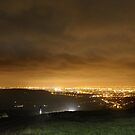 Approaching Car, Night, Monk&#x27;s Road Glossop by Mark Smitham