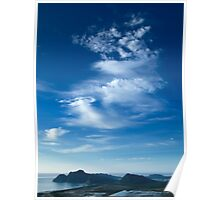 Blue Sky White Dargon Clouds Poster