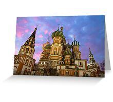 St. Basil church in Moscow, night view Greeting Card