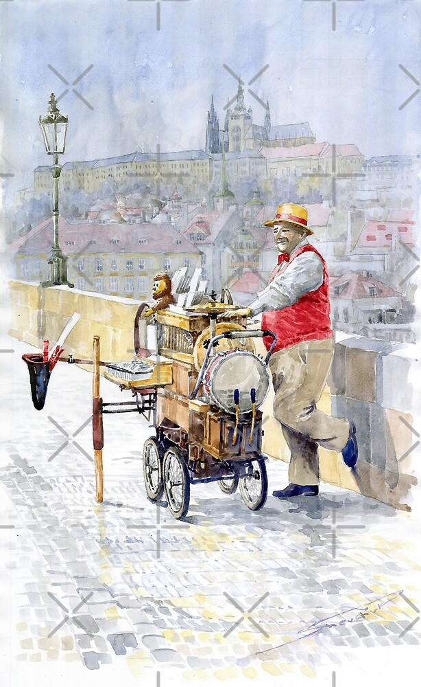 Prague Charles Bridge Organ Grinder-Seller Happiness  by Yuriy Shevchuk