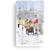 Prague Charles Bridge Organ Grinder-Seller Happiness  Metal Print